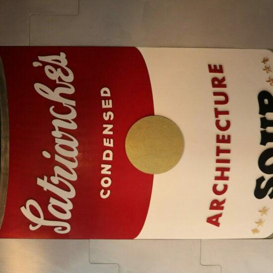 """Hommage à Andy Warhol pour le compte de la société """"Patriarche Office of Architecture"""", 2.40 x 2,0 m , plâtre et béton ciré"""